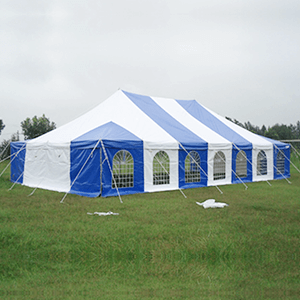 5m x 5m blue and white peg and pole