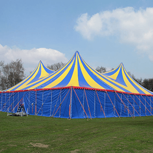 blue and yellow alpine tents