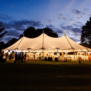 peg and pole tents night view